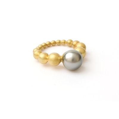 Gouden ring met Tahiti parel