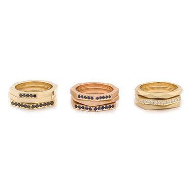 hoekige ringen met diamant.