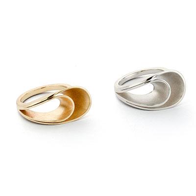 Ring van zilver en ring van goud.