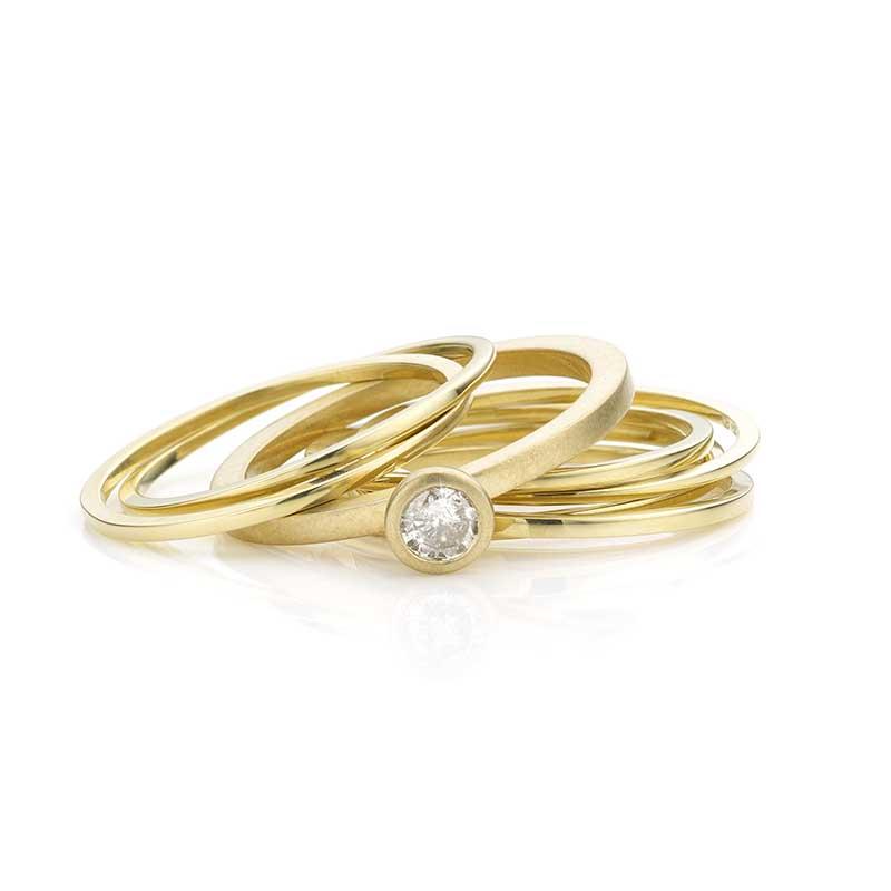 set ringen met diamant