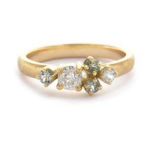 Ring met antieke diamant en saffiertjes | verlovingsring