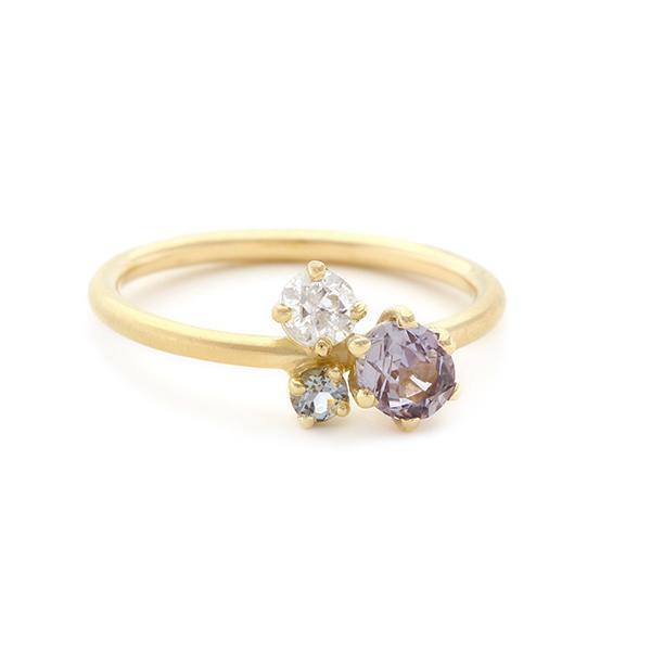 Ring met cluster van saffier en diamant